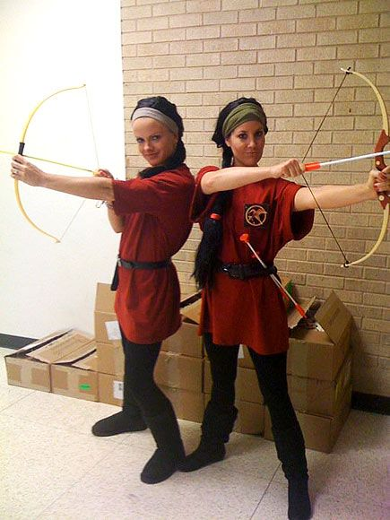 my buddy and me as Katniss Everdeen.  We both taught this novel and dressed up to get kids motivated to read it.