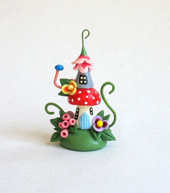 Miniature Whimsical Fairy Toadstool Two Story House OOAK by C. Rohal