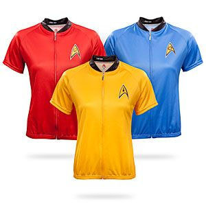 ThinkGeek :: Star Trek Uniform Ladies' Cycle Jersey. I DEFINITELY need these for my bike commute to work!