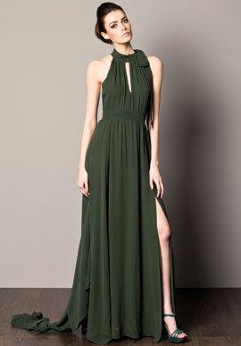 Vestido verde olivo para fiesta