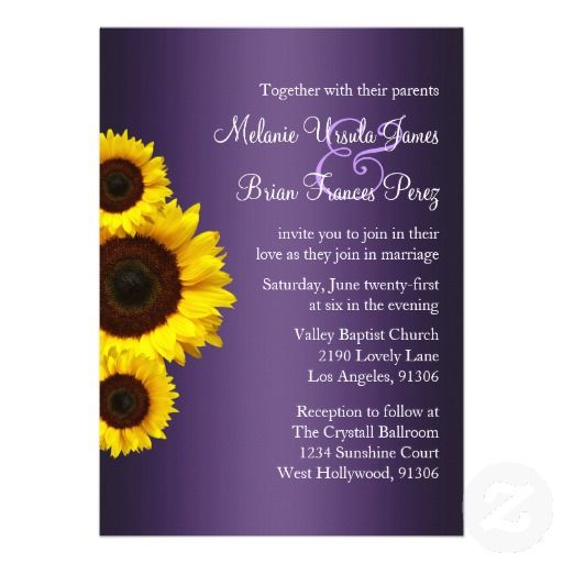 with silver paper backing as well | Purple and Yellow Sunflower Wedding Invitation from Zazzle.com