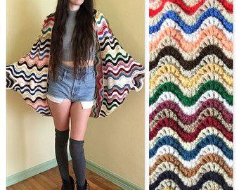 Vintage 70 ' s de wrap/dolman sleeve cardigan en tricot récupéré