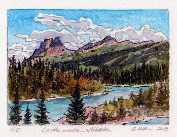 etching - hand colored Canadian Rockies study