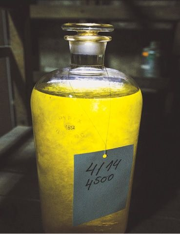 "Rose oil in a glass container.—AFP Once this yellowish-green ""liquid gold"" is packaged into jars ready for sale, it's expensive, selling for $6,700 to $7,200 and above for a kilo. 3,500 kilograms, vast volumes of rose petals are needed to produce just one kilo of oil."
