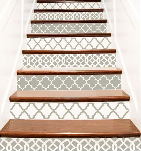 Decorative Vinyl Stair Tile Decals . Trellis Decor Steps Riser Stickers . Your Choice of Color and Quantity