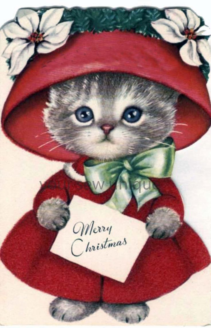 Vintage Christmas card Christmas kitten in by yoursewunique