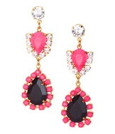 #earrings with rhinestones and pink and black stones from HM