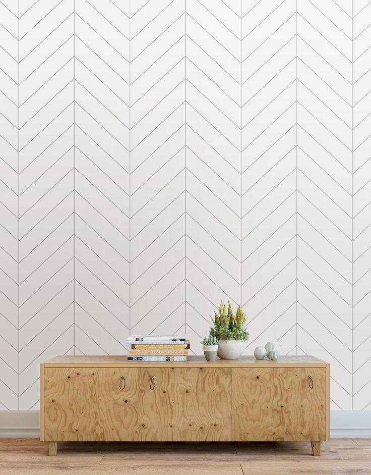 Herringbone Wallpaper Peel And Stick Tiles Modern Wallpaper Panels Light Gray By Wallawesome Herringbone Wallpaper Modern Wallpaper Master Bedroom Wallpaper