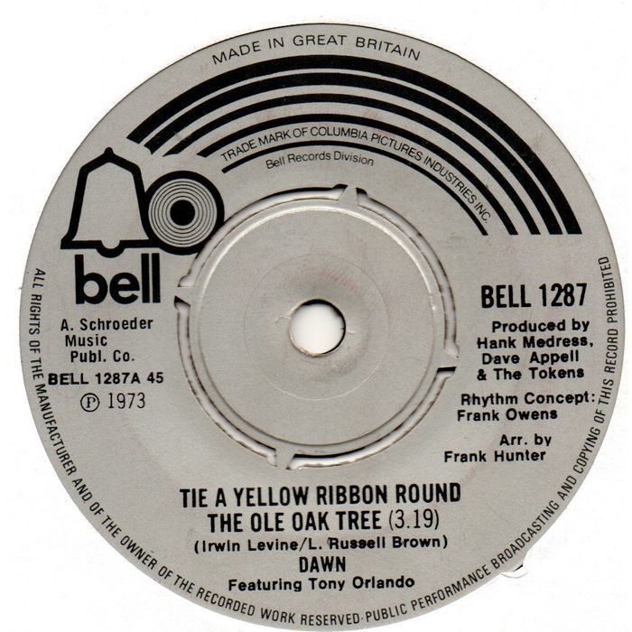 Dawn Tie A Yellow Ribbon 1973 7 Vinyl Single Record Bell1287 On Ebid United Kingdom 189017536 In 2020 Oldies Music Vinyl Music Single Record
