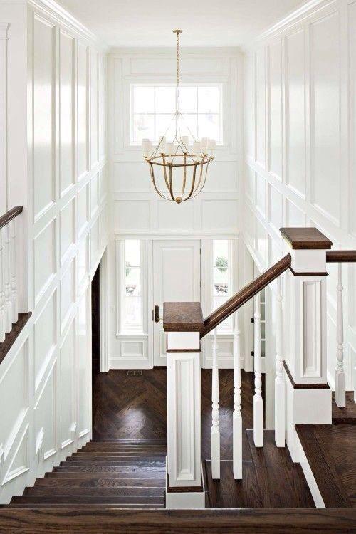 white wainscoting / dark wood floors