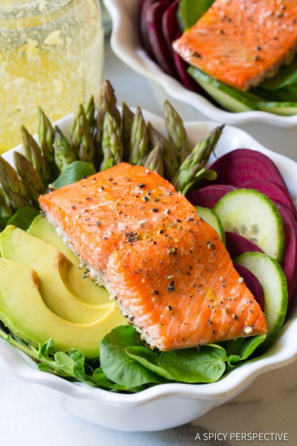 Healthy Roasted Salmon Detox Salad Recipe | ASpicyPerspective.com