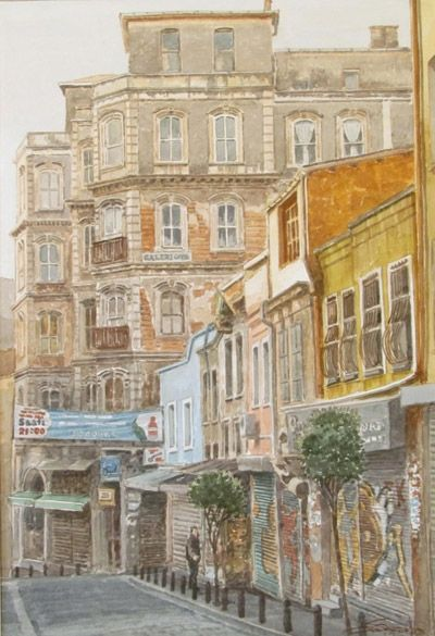 Dimitris Stathopoulos (b.1946) – Istanbul, watercolor on paper