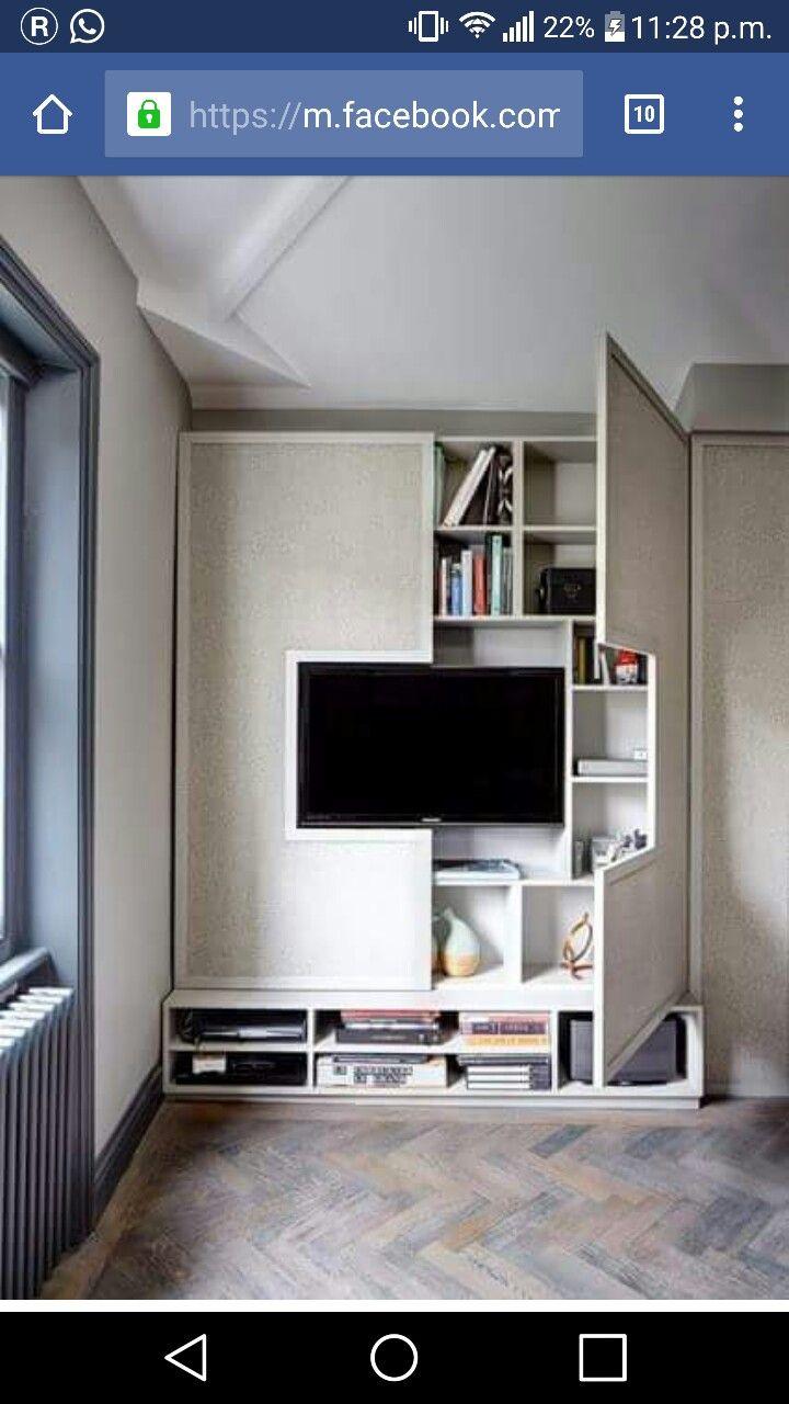 Hidden storage fake wall tv cabinet