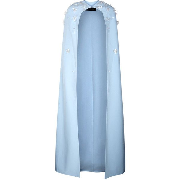 SAFiYAA Amitola Pale Blue Embroidered Cape - Size 14 ($1,750) ❤ liked on Polyvore featuring outerwear, blue cape coat, embellished cape, embroidered cape, blue cape and beaded cape