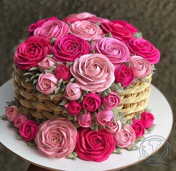 Cake Flower Basket Cake Basket Flower Basket Cake Buttercream Cake Designs