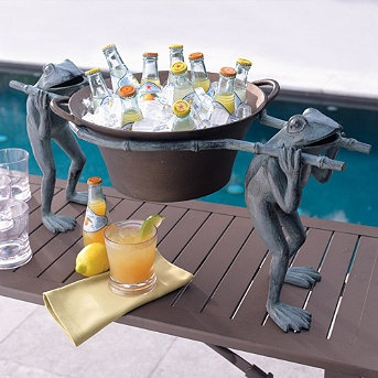 Our Hand-painted Frog Beverage Tub will definitely be the talk of your next get-together. Carried along by two whimsical frogs, this hand-painted, powdercoated aluminum beverage tub is roomy enough to serve 6 bottles of beer or soda plus ice.