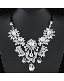 Resin Gems Mingled Flowers Cluster with Gem Waterdrops Design Costume Fashion Necklace - Transparent