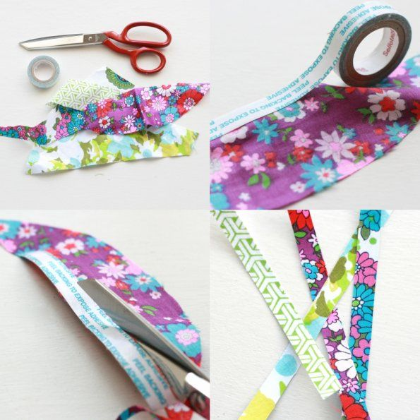 DIY Fabric Tape: Extremely simple but a great way to use up scraps of fabric. Assume I can do the same with paper.