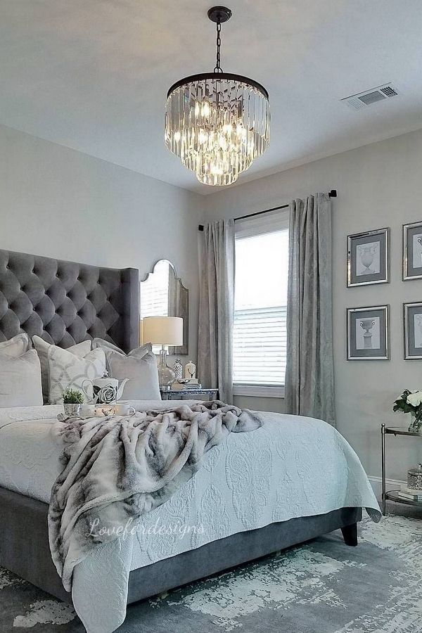 51 Cozy Grey Bedroom Designs With Upholstered Tufted Headboard T Home Decor Bedroom Master Bedrooms Decor Luxurious Bedrooms