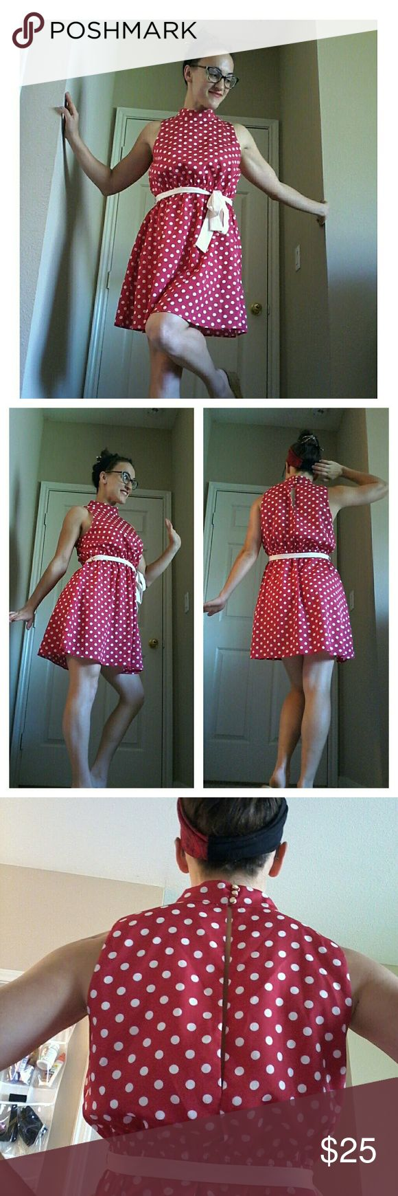 """Monteau Retro Pinup Dress Lightweight, silky red dress with white polkadots and sash. Flattering and playful - if Minnie Mouse were a pinup girl, she would wear this ;) I am 5'3.5"""" and a size 4 for reference. Tag says """"large"""" - I think this would best suit a size 6-8. ModCloth Dresses Mini"""