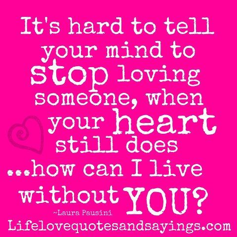 It's hard to tell your mind to stop loving someone, when your heart still does... how can I live without you? ~Laura Pausini