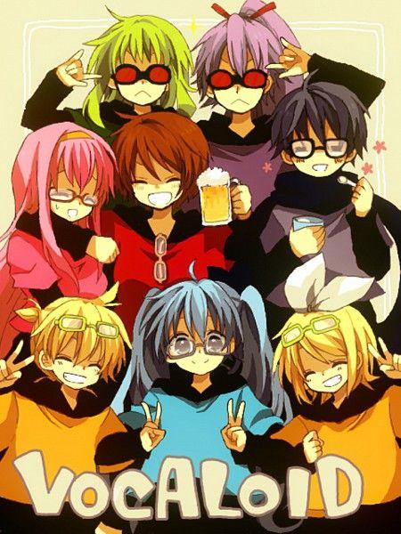 So cute! Look at Gumi and Gakupo!  Why does Kaito have black hair?