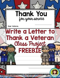 Need a fantastic class #project for #VeteransDay? Use this Thank a #Veteran friendly letter template #FREEBIE to brighten the day of a veteran.  Blog posts provides instructions and address to send your students' letters to veterans through Operation Gratitude.   This product encourages students to write a friendly letter to a veteran who has served in a previous war or military operation.