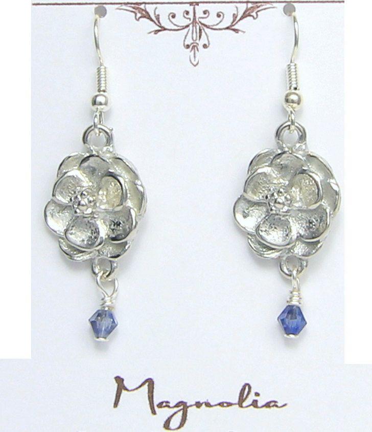 Birthday Flower Sterling Silver Earings Jewellery--JULY----Larkspur Design Presented By Sterling Effectz HuyMx2