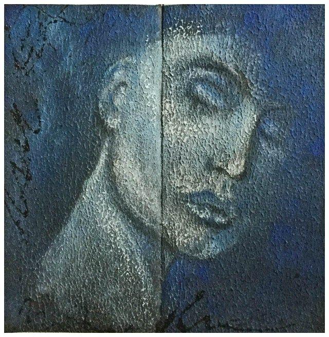 Ein Portrait, sagenhafte Textur-Effekte und PanPastel - Texture Effekte mit Acryllic Ground, farbliche Gestaltung PanPastel - Art by Daniela Rogall