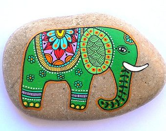 Reserved Hand Painted Stone Peacock by ISassiDellAdriatico on Etsy