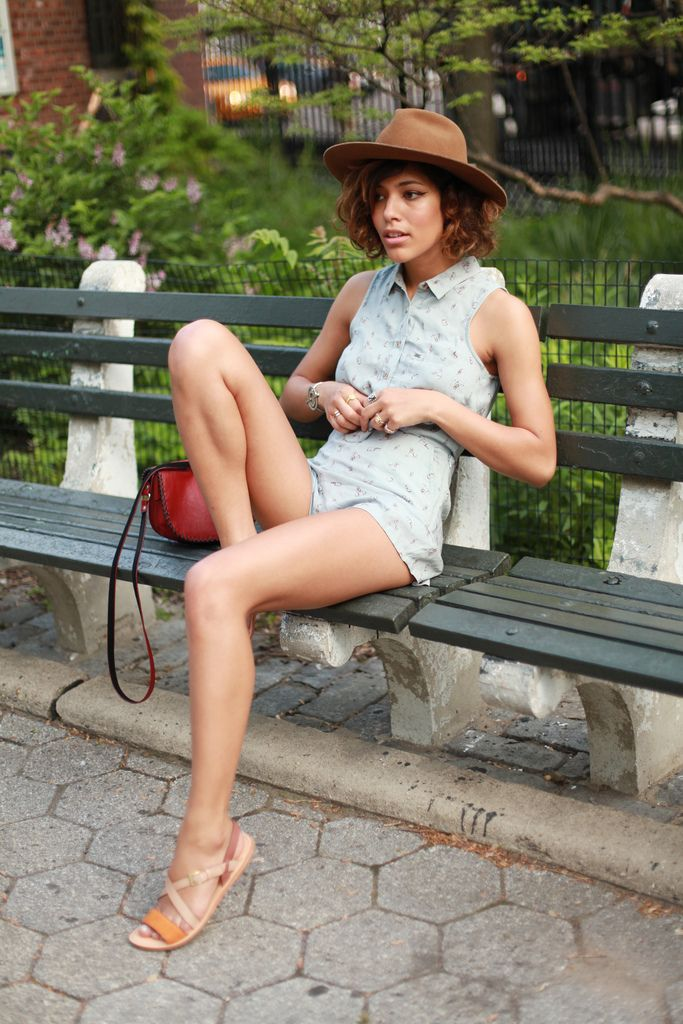 Blue Pony @ Trop Rouge (my blogger crush of the moment!) summer jumpsuit: Obey, sandals: Cole Haan, bag: Supertrash, hat: Otte.