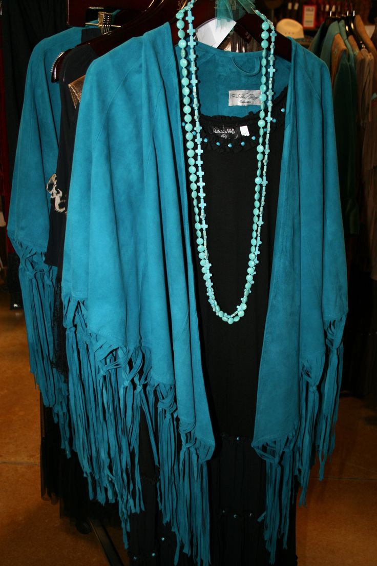 Turquoise Fringed Cape From Ranch At The Rim San Antonio