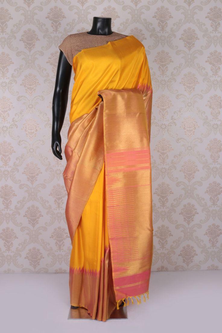 #Yellow weaved #kanchipuram silk #amazing saree with peachish #pink & #gold border -SR11575