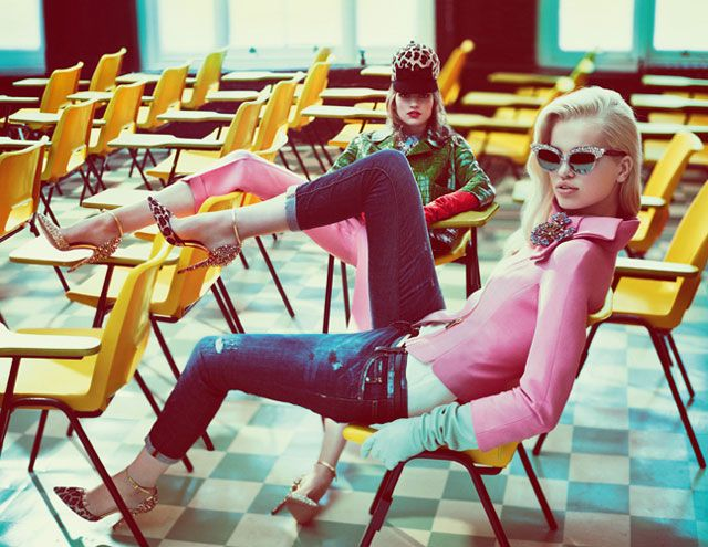 Daphne Groeneveld, Bette Franke & Frida Aasen Go Back to School for DSquared2s Fall 2012 Campaign by Mert & Marcus