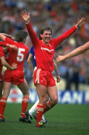 Kenny Dalglish celebrating after the final whistle sounds in the 1986 FA Cup final to secure the double for the Reds