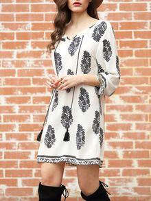 Kleid Langarm mit Blumenmuster-weiß