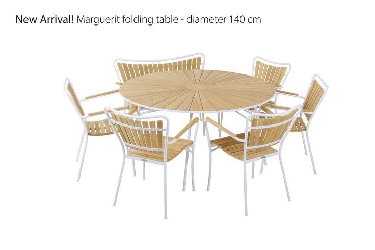 Marguerit table. Burma teak and aluminium frame. Diameter 140 cm.  Visit www.mandalay.dk