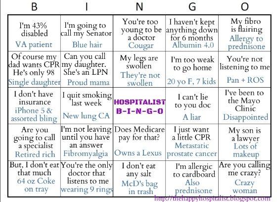 hospitalist icu bingo card  see the other nurse icu bingo card too