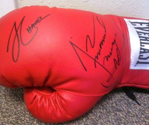 Juan Manuel Marquez & Julio Cesar Chavez Sr. Autographed Boxing Glove
