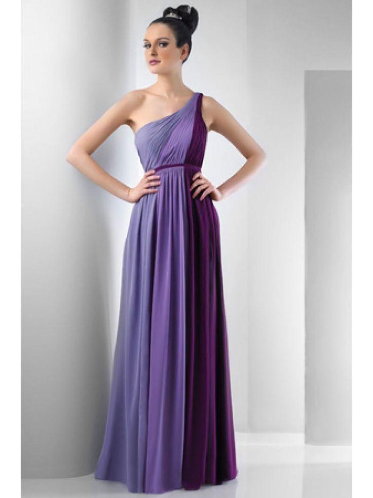 Sheath / Column One Shoulder Floor Length Chiffon Bridesmaid / Wedding Guest Dresses 501034