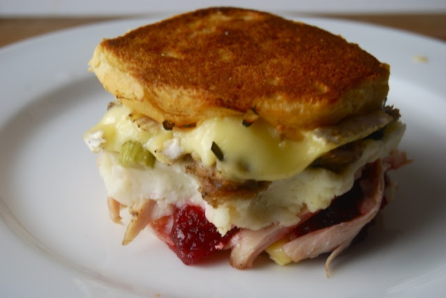 ... leftover turkey mashed potatoes cranberry jelly and brie on a biscuit