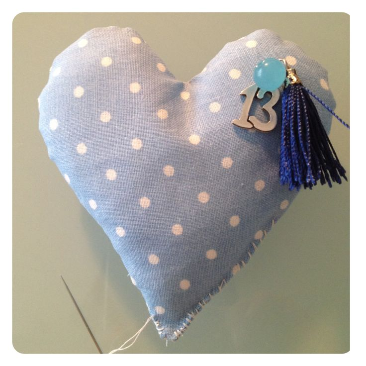 handmade cotton heart, as a lucky charm for 2013. Same can be made for 2014 or with charms for other occasion