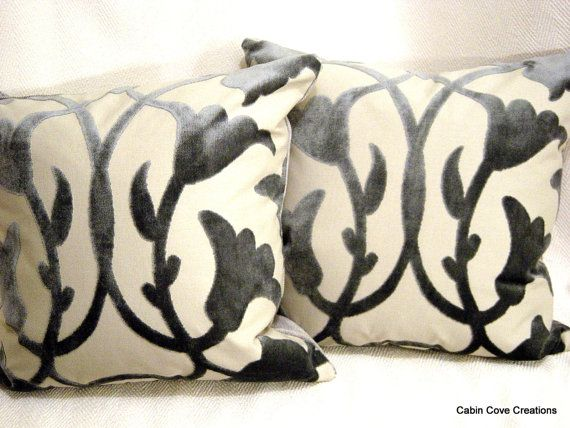 Luxury Designer Throw Pillows 2 Barbara Barry Poetic Kravet Couture Heron  Custom MADE To ORDER Silvery