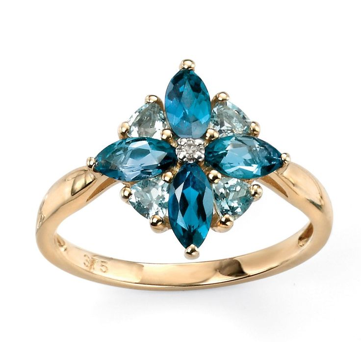Hallmarked 9ct Yellow Gold & Diamonds, London Blue Topaz & Blue Topaz Ring - This elegantly designed ring from the Elements Gold collection is expertly crafted from hallmarked 9ct yellow gold and London blue and blue topaz in an enchanting and everlasting style: http://ow.ly/Xy4oh
