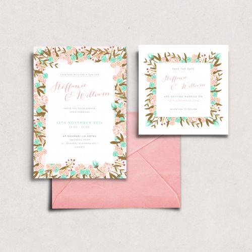 Flower themed custom illustrated invitation by Sasa Khalisa