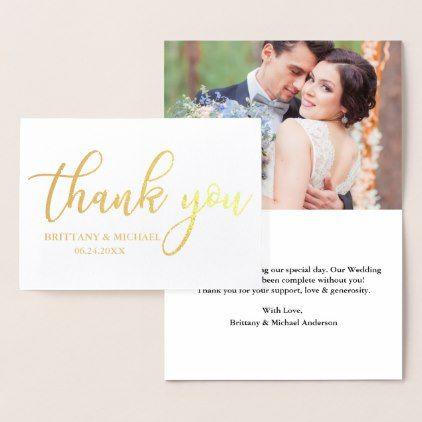 Modern Thank You Wedding Photo Gold Foil Card  $3.55  by HappyMemoriesCardCo  - cyo customize personalize unique diy idea