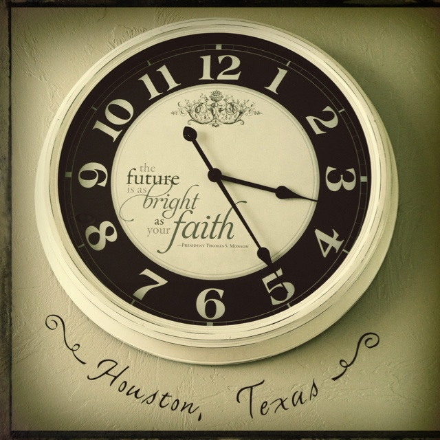 Missionary clock set for the time zone they are serving. :) How fun would this be lined up on a wall for all the missionaries you know? :)