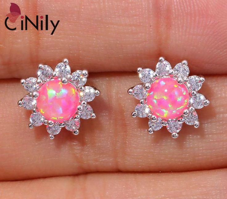 CiNily Created Pink Fire Opal Cubic Zirconia Silver Plated Earrings Wholesale Retail for Women Jewelry Stud Earrings 12mm OH3449