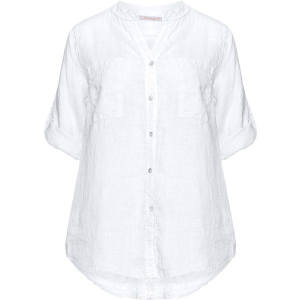 Nostalgia White Plus Size Lace and sequin detail linen blouse (295 ARS) ❤ liked on Polyvore featuring tops, blouses, shirts, plus size, white, lace blouse, collared shirt, white lace shirt, white linen blouse and white shirt