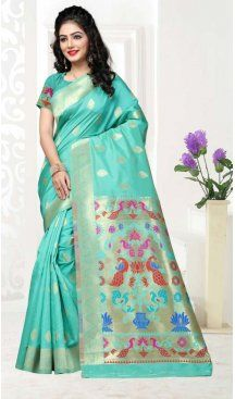 Turquoise Color Art Silk Pooja and Traditional Wear Saree | FH579186183